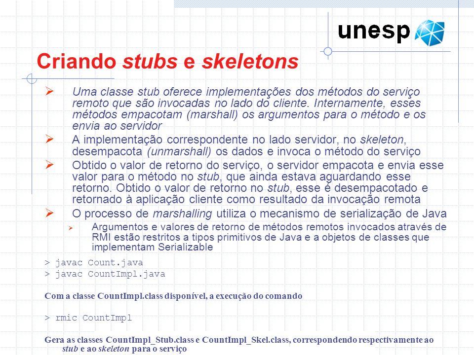 Criando stubs e skeletons Uma classe stub oferece implementações dos métodos do serviço remoto que são invocadas no lado do cliente.