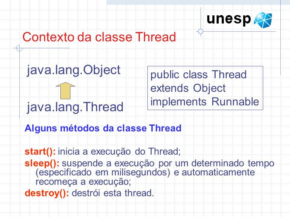 Contexto da classe Thread java.lang.Object java.lang.Thread public class Thread extends Object implements Runnable Alguns métodos da classe Thread sta