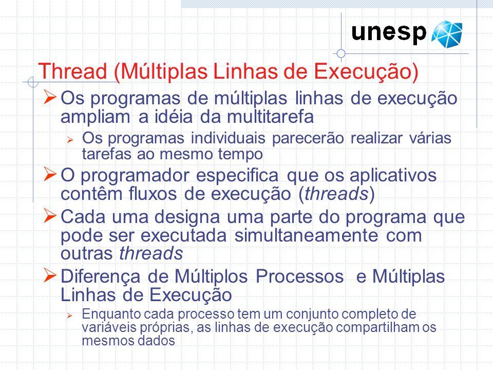 Thread (Múltiplas Linhas de Execução) Os programas de múltiplas linhas de execução ampliam a idéia da multitarefa Os programas individuais parecerão r