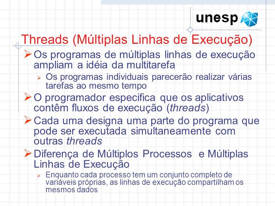 Threads (Múltiplas Linhas de Execução) Os programas de múltiplas linhas de execução ampliam a idéia da multitarefa Os programas individuais parecerão