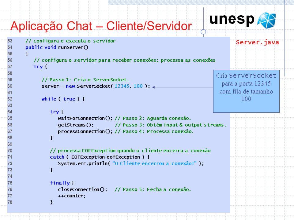 Aplicação Chat – Cliente/Servidor 53 // configura e executa o servidor 54 public void runServer() 55 { 56 // configura o servidor para receber conexõe