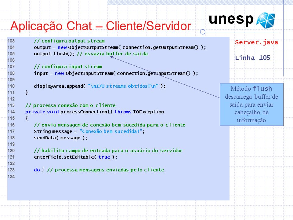 Aplicação Chat – Cliente/Servidor 103 // configura output stream 104 output = new ObjectOutputStream( connection.getOutputStream() ); 105 output.flush
