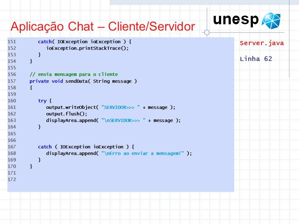 Aplicação Chat – Cliente/Servidor 151 catch( IOException ioException ) { 152 ioException.printStackTrace(); 153 } 154 } 155 156 // envia mensagem para