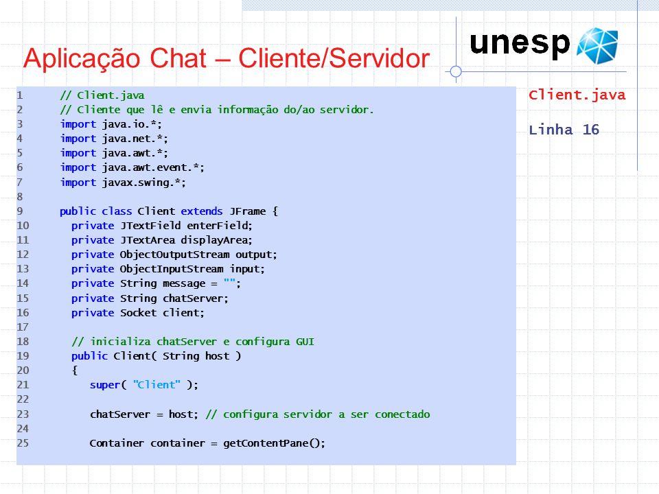 Aplicação Chat – Cliente/Servidor 1 // Client.java 2 // Cliente que lê e envia informação do/ao servidor. 3 import java.io.*; 4 import java.net.*; 5 i