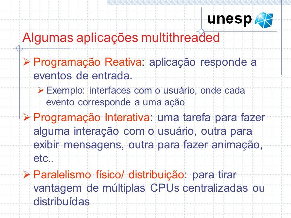 Algumas aplicações multithreaded Programação Reativa: aplicação responde a eventos de entrada. Exemplo: interfaces com o usuário, onde cada evento cor