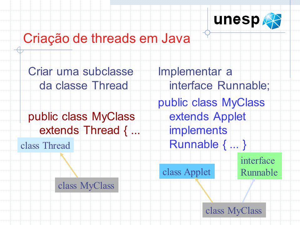 Criação de threads em Java Criar uma subclasse da classe Thread public class MyClass extends Thread {... } Implementar a interface Runnable; public cl