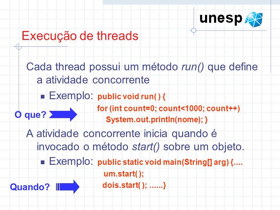 Execução de threads Cada thread possui um método run() que define a atividade concorrente Exemplo: public void run( ) { for (int count=0; count<1000;