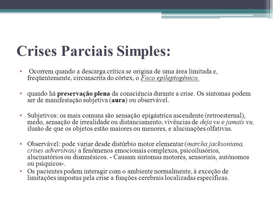 Crises Parciais Simples: Ocorrem quando a descarga crítica se origina de uma área limitada e, freqüentemente, circunscrita do córtex, o Foco epileptog
