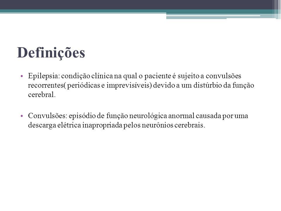Definições Epilepsia: condição clínica na qual o paciente é sujeito a convulsões recorrentes( periódicas e imprevisíveis) devido a um distúrbio da fun