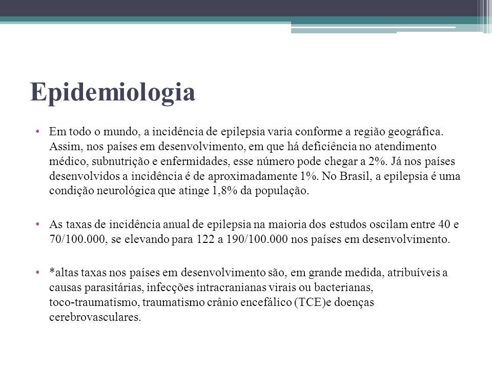 Epidemiologia Em todo o mundo, a incidência de epilepsia varia conforme a região geográfica. Assim, nos países em desenvolvimento, em que há deficiênc