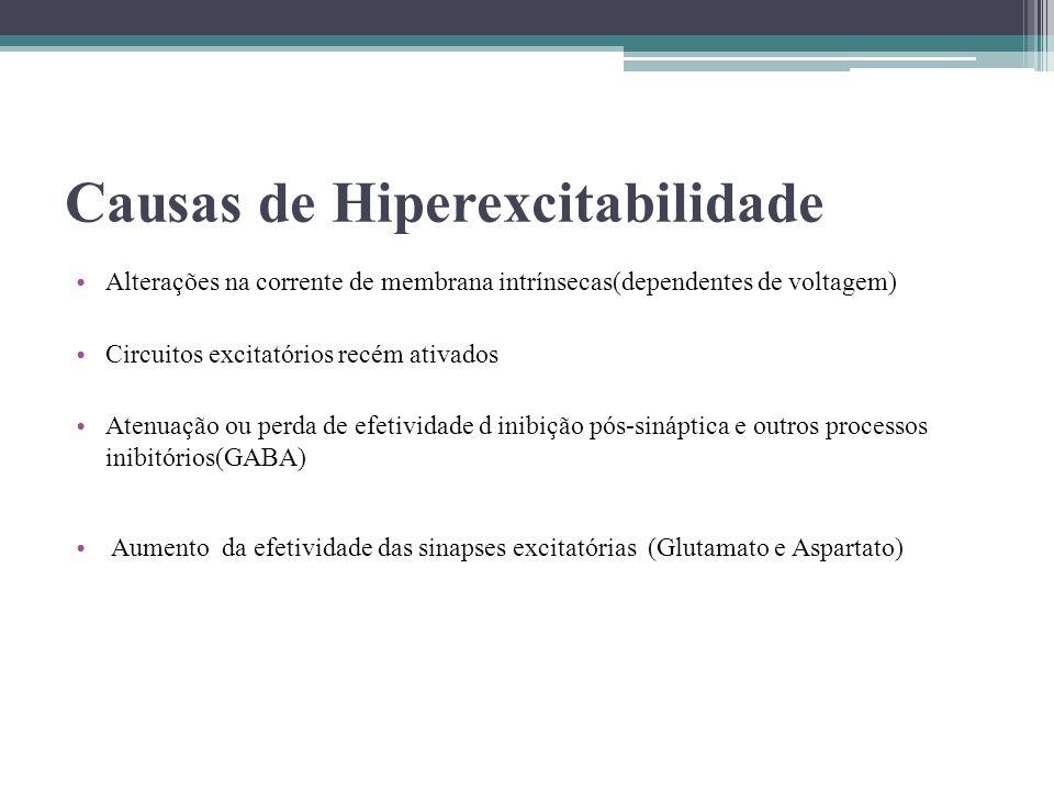 Causas de Hiperexcitabilidade Alterações na corrente de membrana intrínsecas(dependentes de voltagem) Circuitos excitatórios recém ativados Atenuação