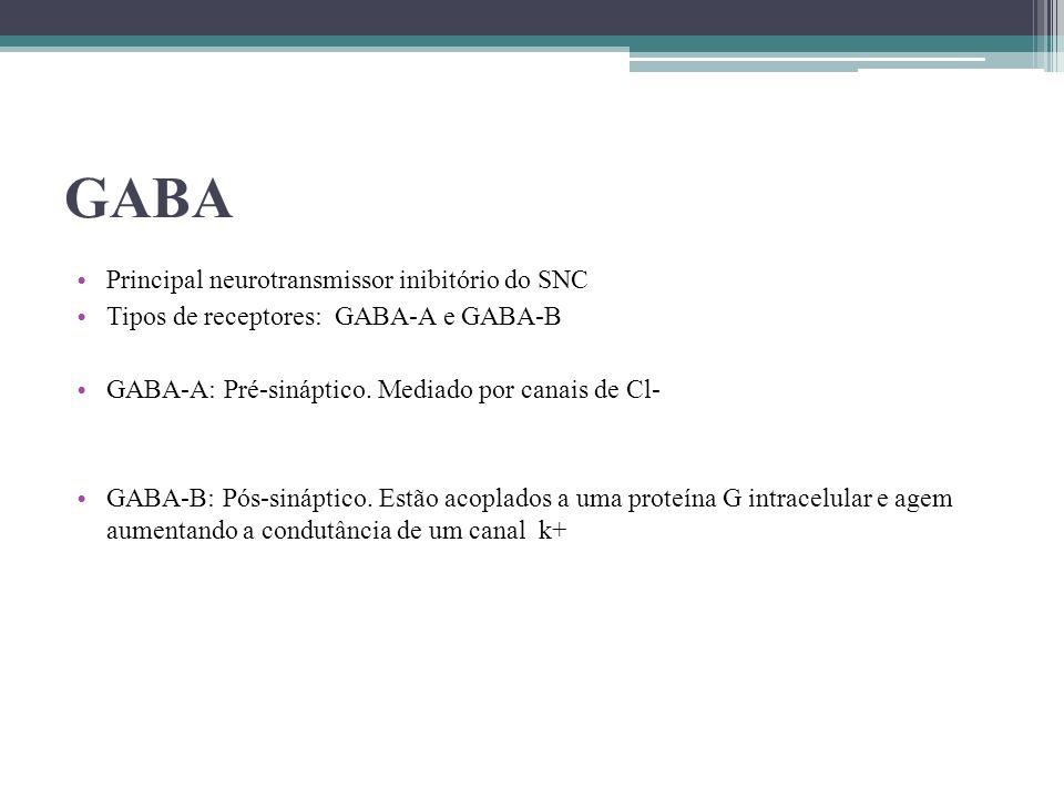 GABA Principal neurotransmissor inibitório do SNC Tipos de receptores: GABA-A e GABA-B GABA-A: Pré-sináptico. Mediado por canais de Cl- GABA-B: Pós-si