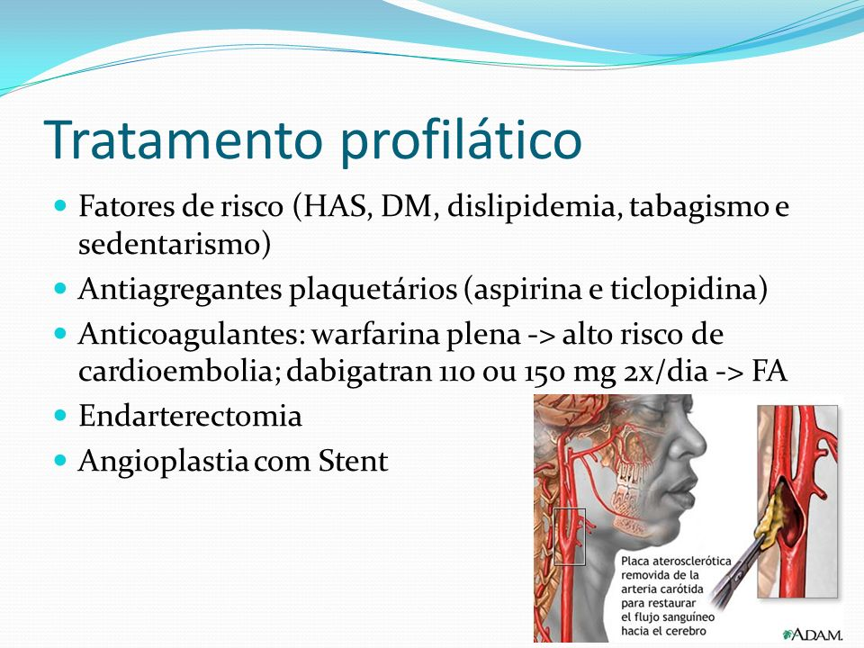 Tratamento profilático Fatores de risco (HAS, DM, dislipidemia, tabagismo e sedentarismo) Antiagregantes plaquetários (aspirina e ticlopidina) Anticoa