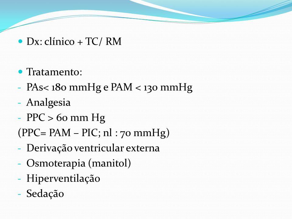 Dx: clínico + TC/ RM Tratamento: - PAs< 180 mmHg e PAM < 130 mmHg - Analgesia - PPC > 60 mm Hg (PPC= PAM – PIC; nl : 70 mmHg) - Derivação ventricular