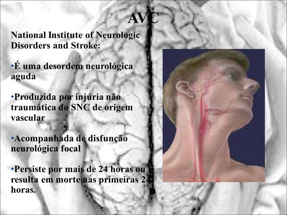 AVC National Institute of Neurologic Disorders and Stroke: É uma desordem neurológica aguda Produzida por injúria não traumática do SNC de origem vasc