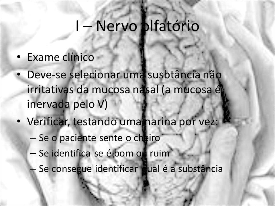 Exame clínico Deve-se selecionar uma susbtância não irritativas da mucosa nasal (a mucosa é inervada pelo V) Verificar, testando uma narina por vez: –