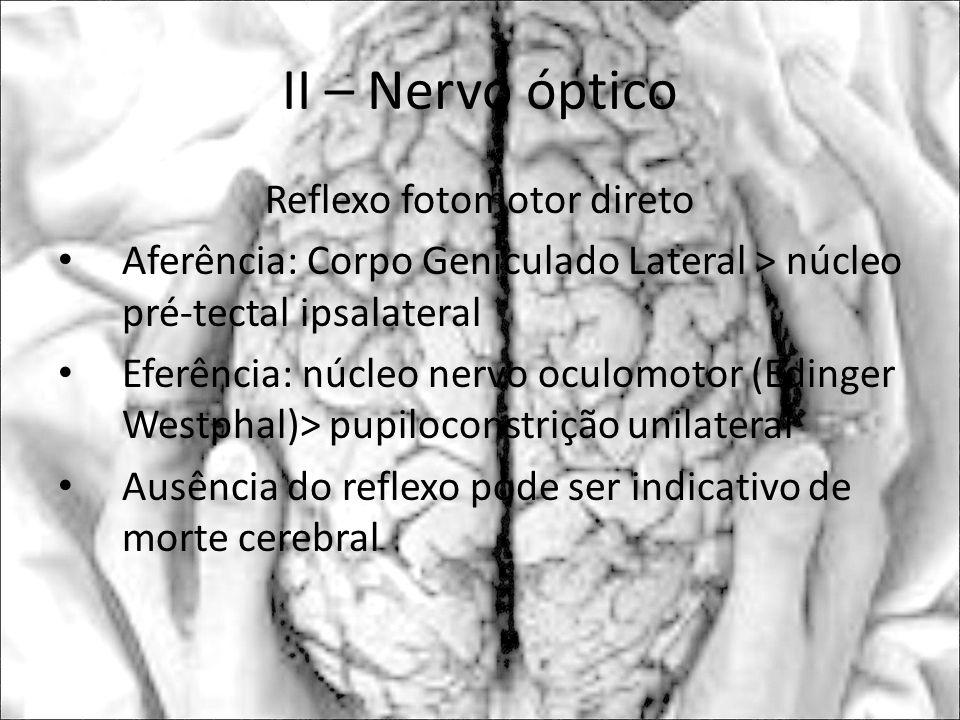 II – Nervo óptico Reflexo fotomotor direto Aferência: Corpo Geniculado Lateral > núcleo pré-tectal ipsalateral Eferência: núcleo nervo oculomotor (Edi
