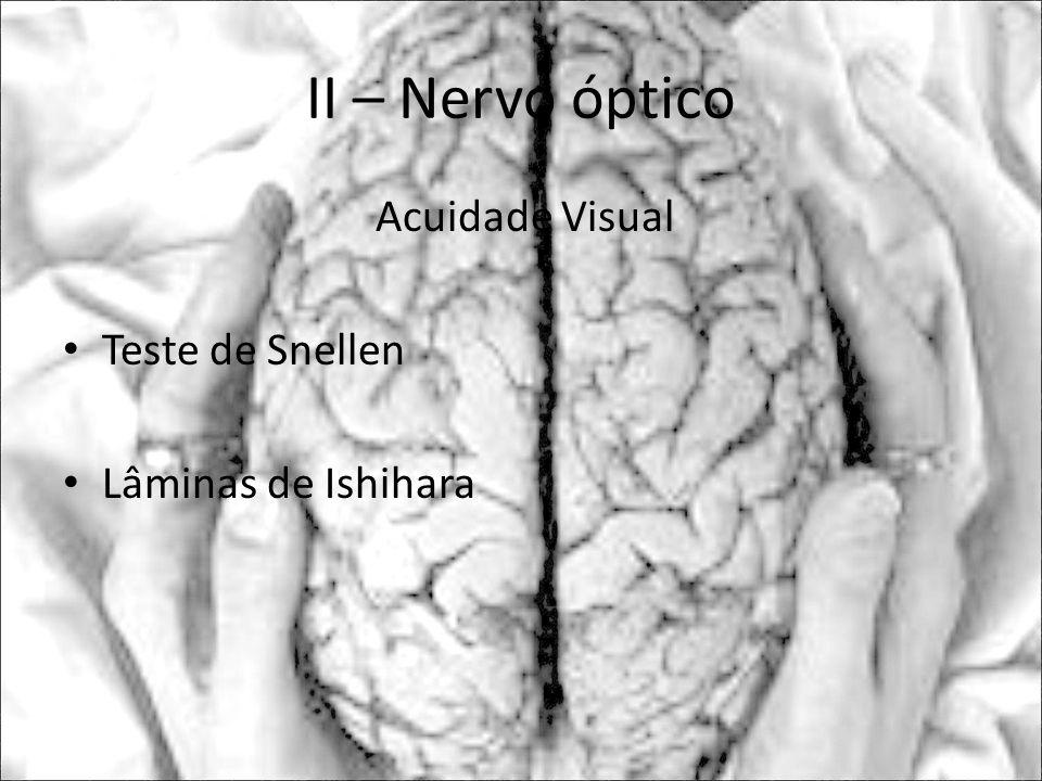 II – Nervo óptico Acuidade Visual Teste de Snellen Lâminas de Ishihara