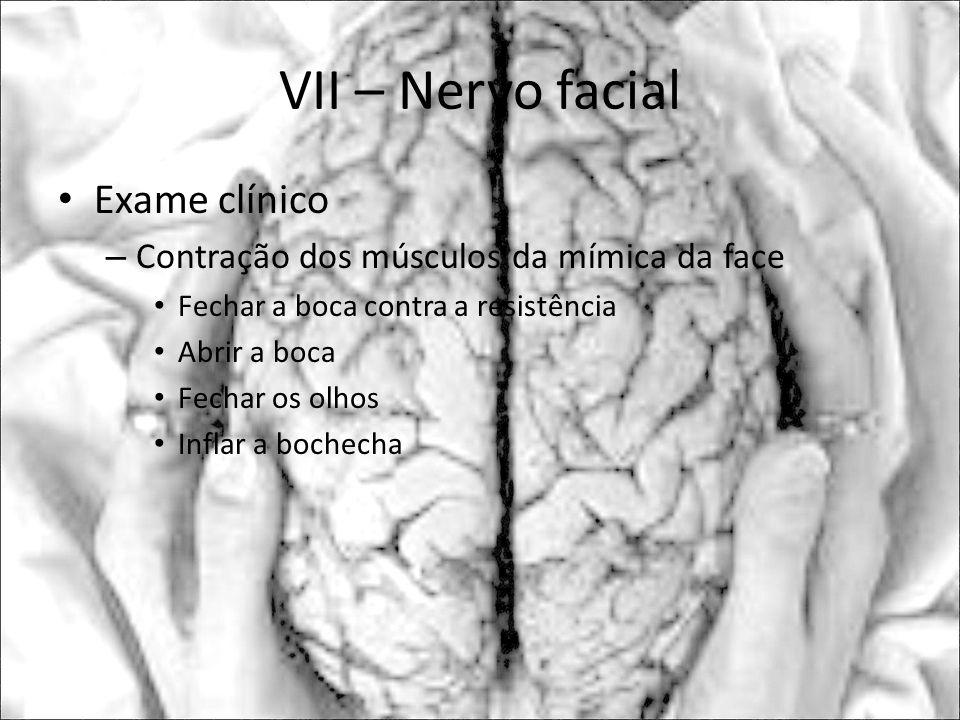 VII – Nervo facial Exame clínico – Contração dos músculos da mímica da face Fechar a boca contra a resistência Abrir a boca Fechar os olhos Inflar a b