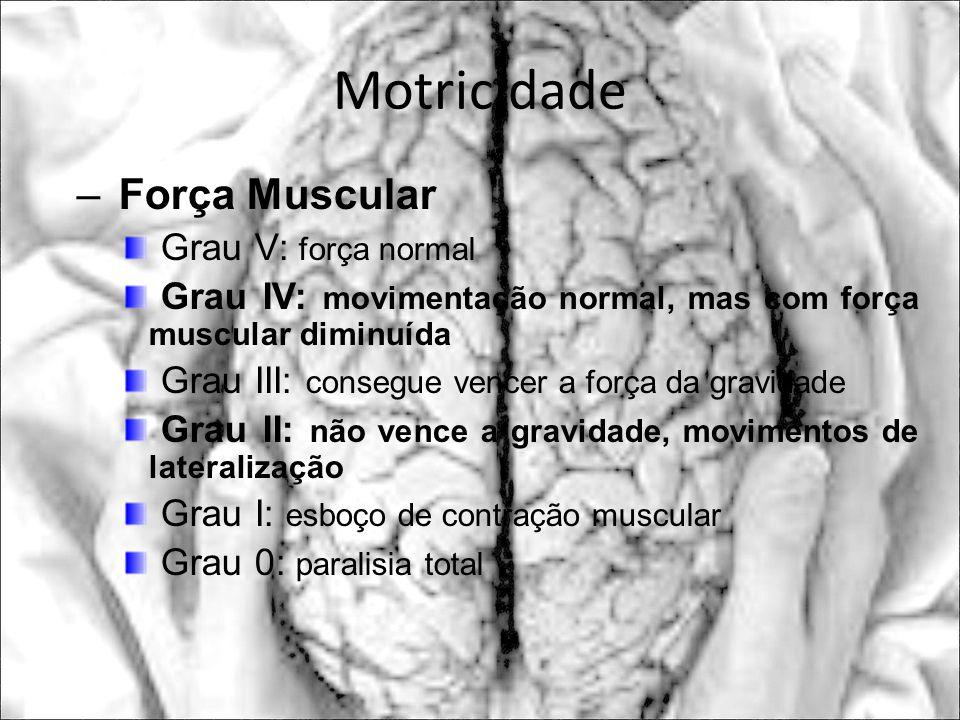 Motricidade – Força Muscular Grau V: força normal Grau IV: movimentação normal, mas com força muscular diminuída Grau III: consegue vencer a força da