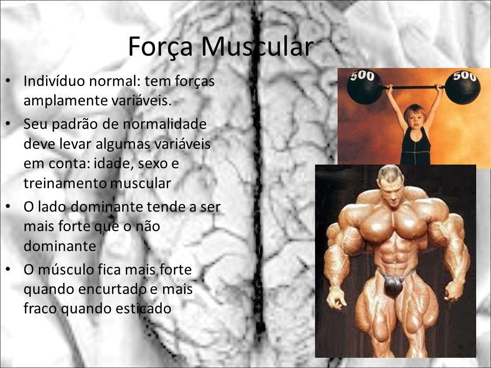 Força Muscular Indivíduo normal: tem forças amplamente variáveis. Seu padrão de normalidade deve levar algumas variáveis em conta: idade, sexo e trein