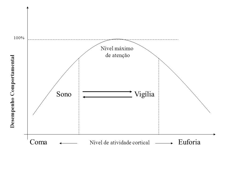 Desempenho Comportamental Nível de atividade cortical 100% Euforia Coma SonoVigília Nível máximo de atenção