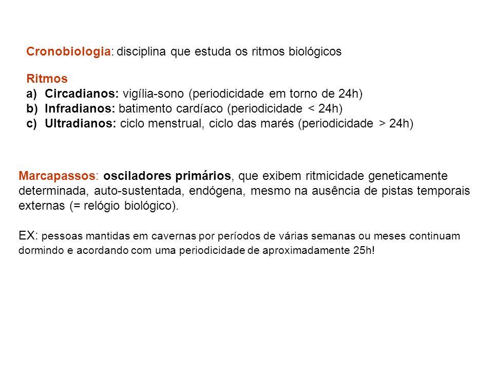 Cronobiologia: disciplina que estuda os ritmos biológicos Ritmos a)Circadianos: vigília-sono (periodicidade em torno de 24h) b)Infradianos: batimento