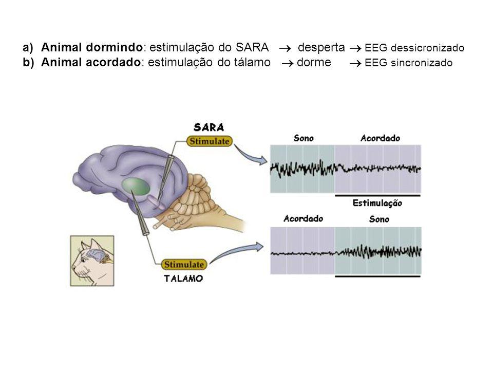 a)Animal dormindo: estimulação do SARA desperta EEG dessicronizado b)Animal acordado: estimulação do tálamo dorme EEG sincronizado