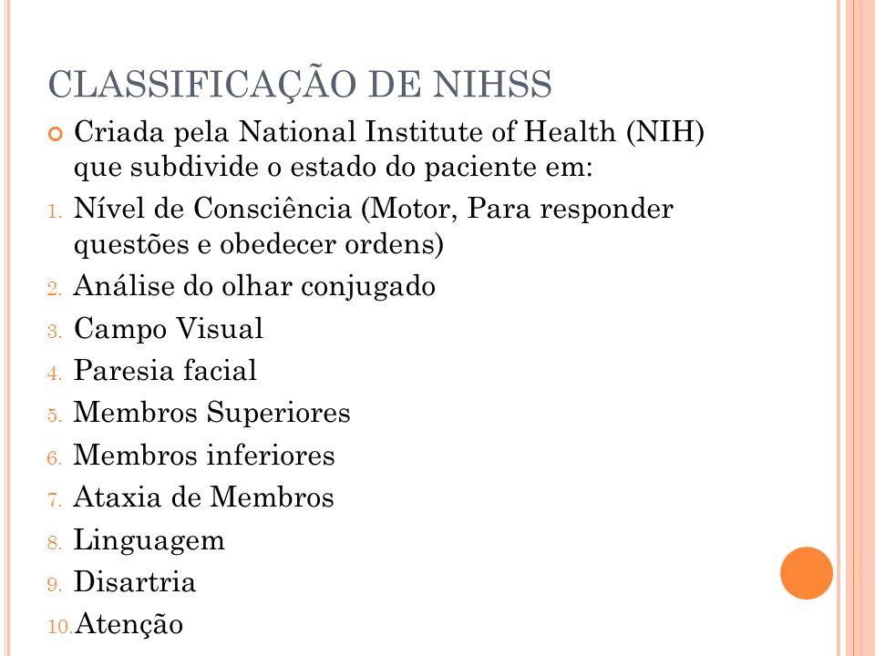 CLASSIFICAÇÃO DE NIHSS Criada pela National Institute of Health (NIH) que subdivide o estado do paciente em: 1. Nível de Consciência (Motor, Para resp