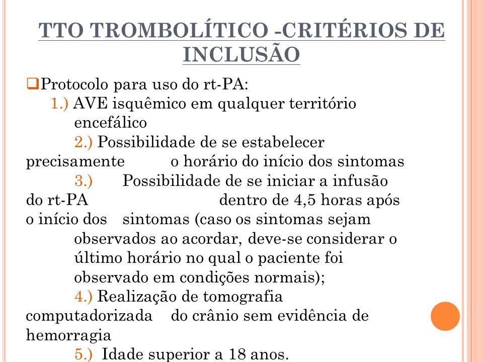 TTO TROMBOLÍTICO -CRITÉRIOS DE INCLUSÃO Protocolo para uso do rt-PA: 1.) AVE isquêmico em qualquer território encefálico 2.) Possibilidade de se estab