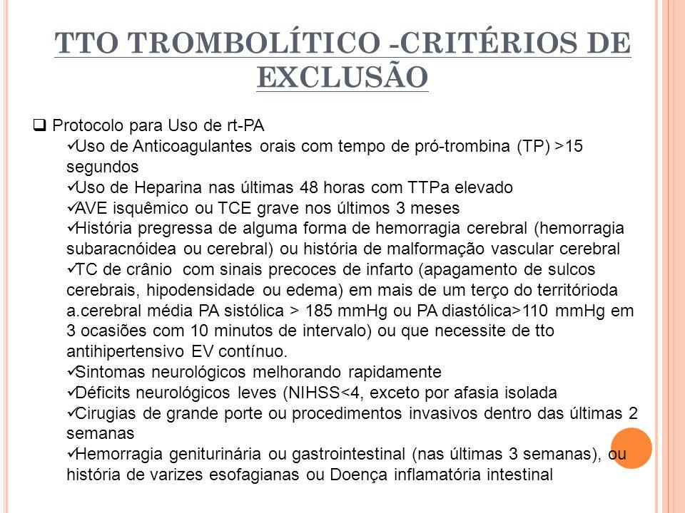 TTO TROMBOLÍTICO -CRITÉRIOS DE EXCLUSÃO Protocolo para Uso de rt-PA Uso de Anticoagulantes orais com tempo de pró-trombina (TP) >15 segundos Uso de He