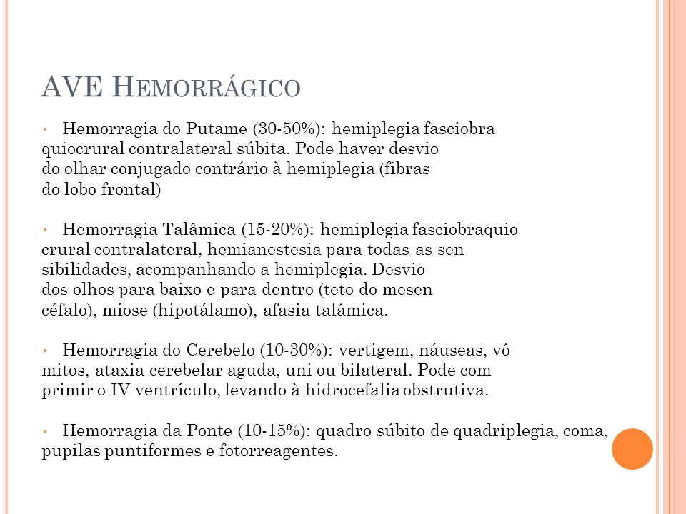 AVE H EMORRÁGICO Hemorragia do Putame (30-50%): hemiplegia fasciobra quiocrural contralateral súbita. Pode haver desvio do olhar conjugado contrário à