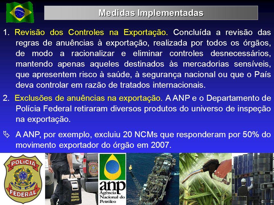Medidas Implementadas 16 1. Revisão dos Controles na Exportação. Concluída a revisão das regras de anuências à exportação, realizada por todos os órgã