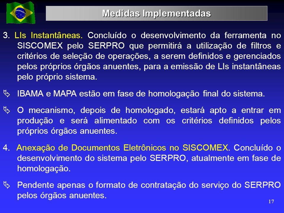 Medidas Implementadas 17 3. LIs Instantâneas. Concluído o desenvolvimento da ferramenta no SISCOMEX pelo SERPRO que permitirá a utilização de filtros