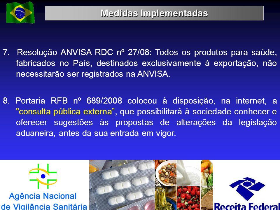 Medidas Implementadas 19 7. Resolução ANVISA RDC nº 27/08: Todos os produtos para saúde, fabricados no País, destinados exclusivamente à exportação, n