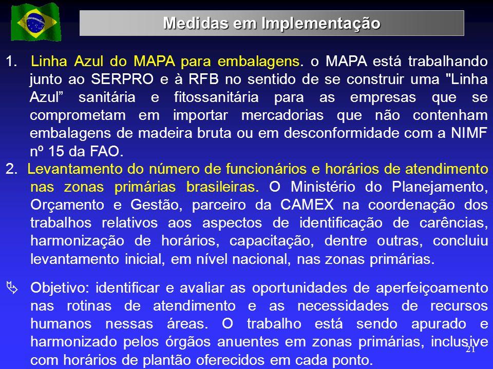 Medidas em Implementação 21 1. Linha Azul do MAPA para embalagens. o MAPA está trabalhando junto ao SERPRO e à RFB no sentido de se construir uma