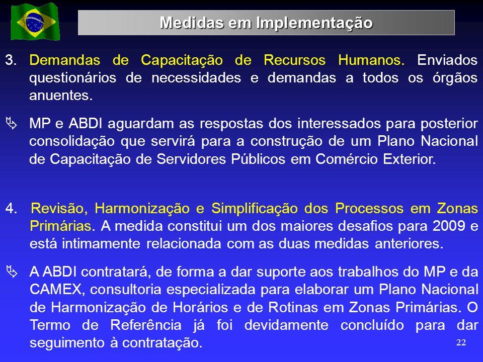 Medidas em Implementação 22 3. Demandas de Capacitação de Recursos Humanos. Enviados questionários de necessidades e demandas a todos os órgãos anuent