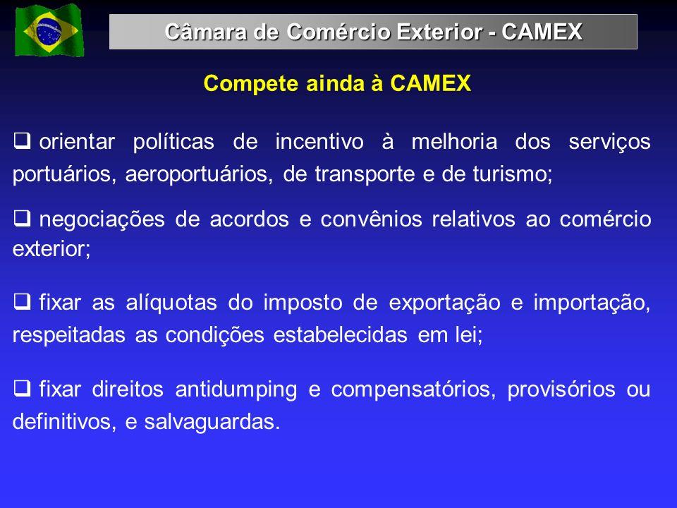 Compete ainda à CAMEX orientar políticas de incentivo à melhoria dos serviços portuários, aeroportuários, de transporte e de turismo; negociações de a