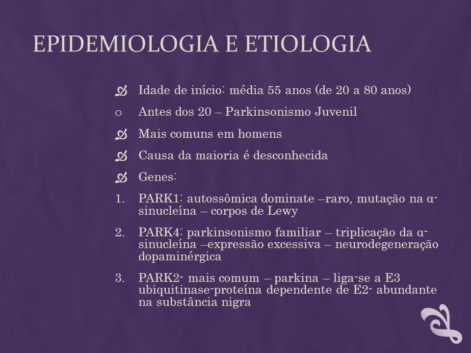 EPIDEMIOLOGIA E ETIOLOGIA Idade de início: média 55 anos (de 20 a 80 anos) o Antes dos 20 – Parkinsonismo Juvenil Mais comuns em homens Causa da maior