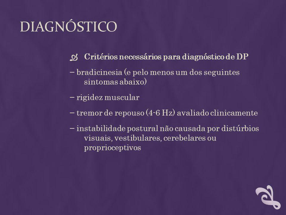 DIAGNÓSTICO Critérios necessários para diagnóstico de DP bradicinesia (e pelo menos um dos seguintes sintomas abaixo) rigidez muscular tremor de repou