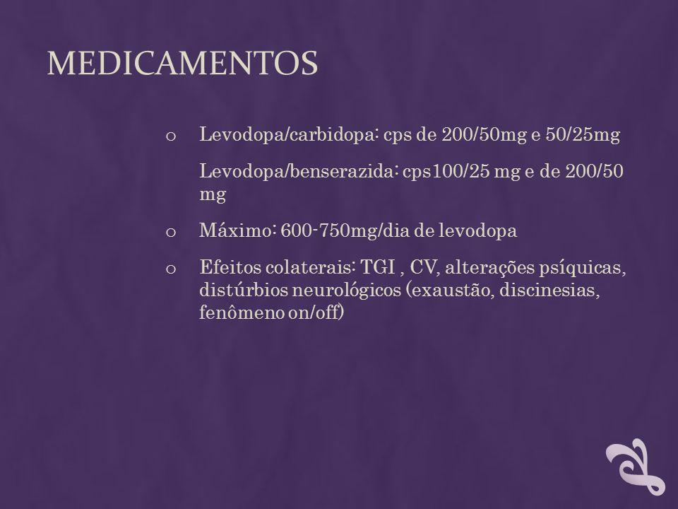 MEDICAMENTOS o Levodopa/carbidopa: cps de 200/50mg e 50/25mg Levodopa/benserazida: cps100/25 mg e de 200/50 mg o Máximo: 600-750mg/dia de levodopa o E