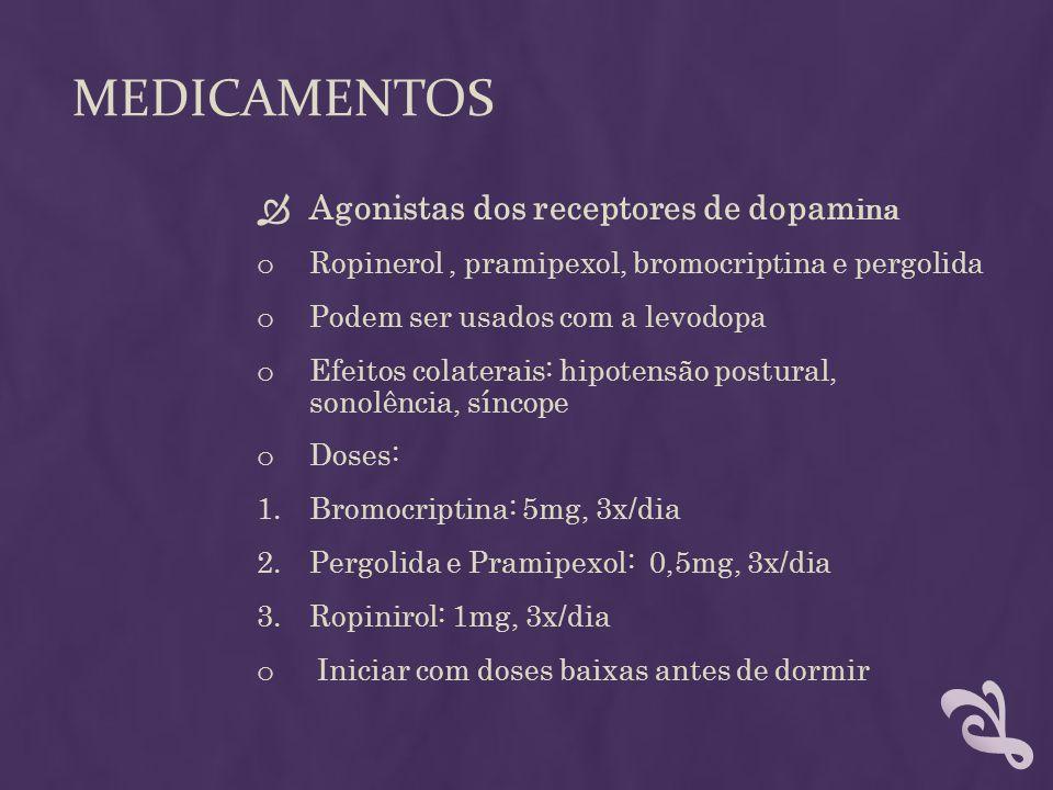MEDICAMENTOS Agonistas dos receptores de dopam ina o Ropinerol, pramipexol, bromocriptina e pergolida o Podem ser usados com a levodopa o Efeitos cola