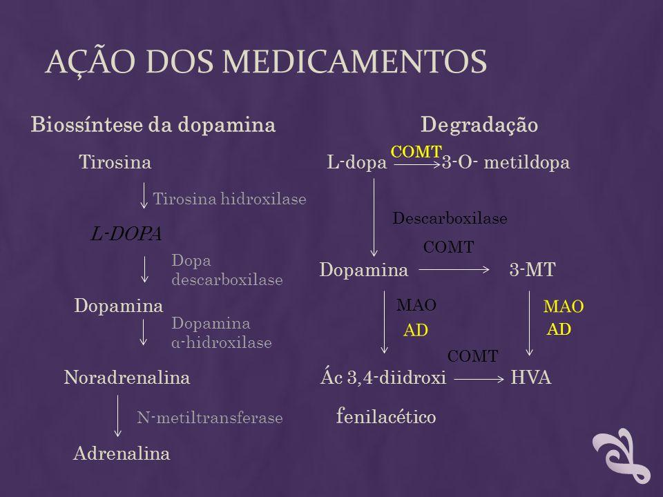 AÇÃO DOS MEDICAMENTOS Biossíntese da dopamina Degradação Tirosina L-dopa 3-O- metildopa Tirosina hidroxilase L-DOPA Dopamina 3-MT Dopamina Noradrenali