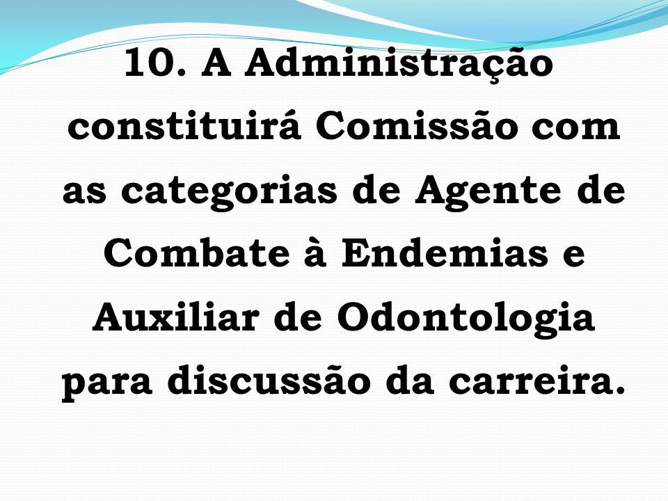 10. A Administração constituirá Comissão com as categorias de Agente de Combate à Endemias e Auxiliar de Odontologia para discussão da carreira.