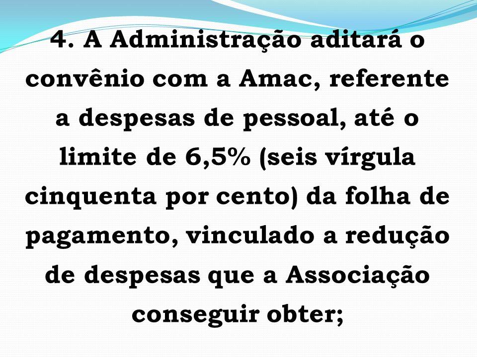4. A Administração aditará o convênio com a Amac, referente a despesas de pessoal, até o limite de 6,5% (seis vírgula cinquenta por cento) da folha de