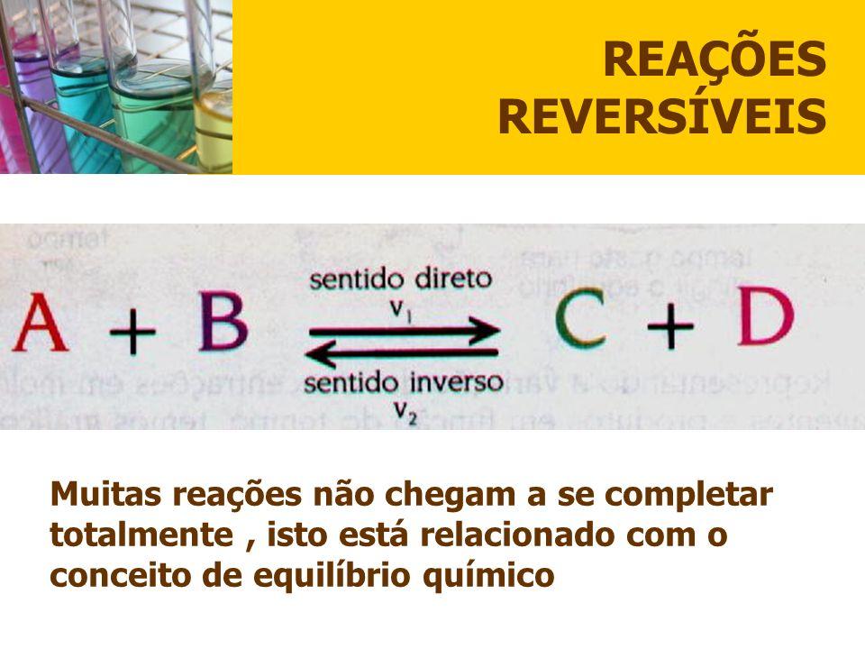 CONCEITO Equilíbrio químico é uma reação Reversível na qual a velocidade da reação direta é igual a da reação inversa e, as concentrações de todas as substâncias participantes Permanecem constantes.