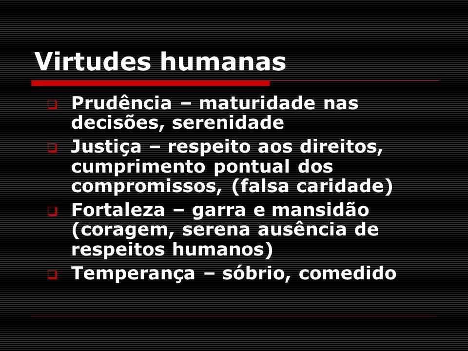 Virtudes humanas Prudência – maturidade nas decisões, serenidade Justiça – respeito aos direitos, cumprimento pontual dos compromissos, (falsa caridad