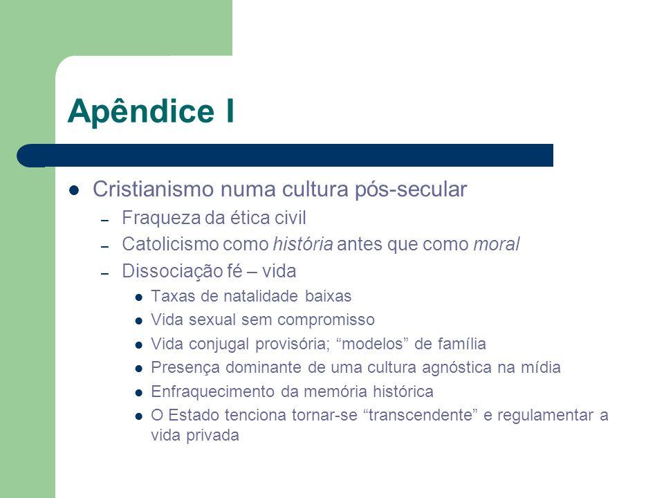 Apêndice I Cristianismo numa cultura pós-secular – Fraqueza da ética civil – Catolicismo como história antes que como moral – Dissociação fé – vida Ta