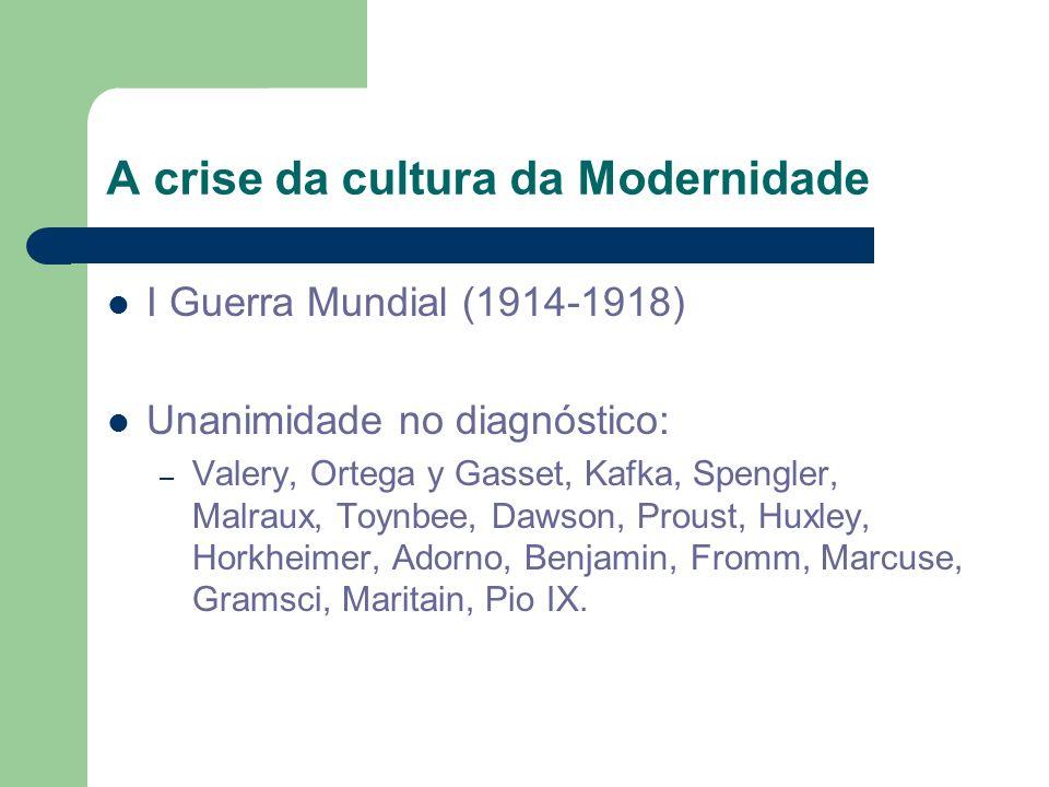 A crise da cultura da Modernidade I Guerra Mundial (1914-1918) Unanimidade no diagnóstico: – Valery, Ortega y Gasset, Kafka, Spengler, Malraux, Toynbe