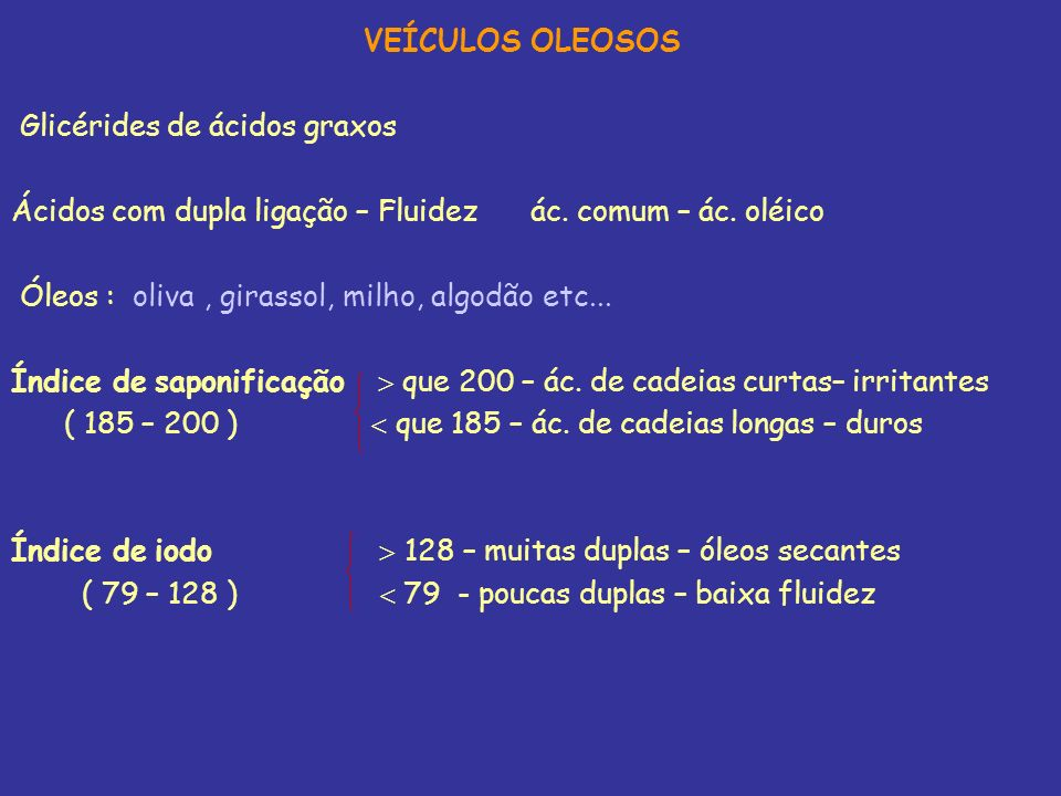 VEÍCULOS OLEOSOS Glicérides de ácidos graxos Ácidos com dupla ligação – Fluidez ác. comum – ác. oléico Óleos : oliva, girassol, milho, algodão etc...